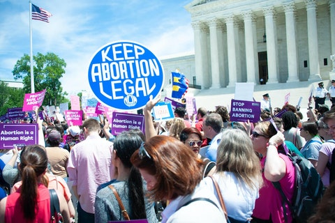 Pro-choice activists rally to stop states' abortion bans in front of the Supreme Court in Washington, D.C., on May 21, 2019. (Shutterstock image)