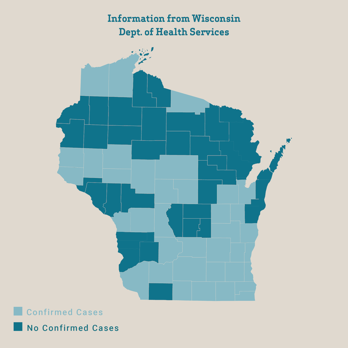 Counties in light blue have reported at least one COVID-19 case as of March 26, 2020, according to the Wisconsin Dept. of Health Services