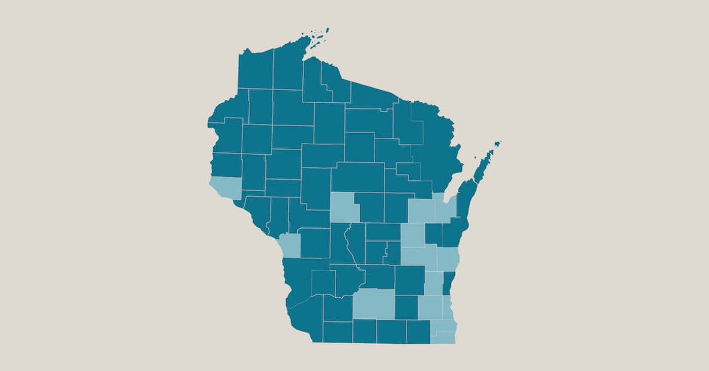 Counties in light blue indicated positive cases of COVID-19 as of Mar. 18, 2020 as reported by the Wisconsin Dept. of Health Services