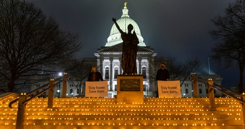 Healthcare workers lit candles in recognition of COVID-19 patients in Wisconsin.