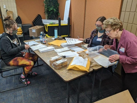 Poll workers in Ashland during the April 7, 2020 election. (Contributed photo)
