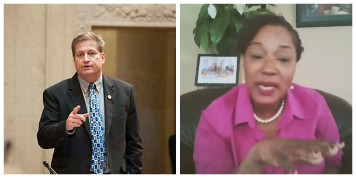 State Sens. Tim Carpenter and Lena Taylor, both Milwaukee Democrats, were not allowed to speak Wednesday during the Senate's session to pass the COVID-19 relief bill. Senate President Roger Roth muted their feeds when they tried to speak, then skipped over them during roll-call voting. (Photos via Sen. Carpenter's office, WisEye)