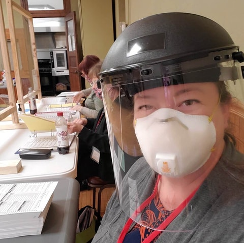 Alyssa Van Duyse donned protective gear, including an N95 mask, to be a polling place worker in Chippewa Falls during Tuesday's spring election. Fears related to COVID-19 kept people who normally staff election sites to stay home, prompting Van Dyse and others who hadn't previously done that work to help make the election possible.  (Contributed photo )