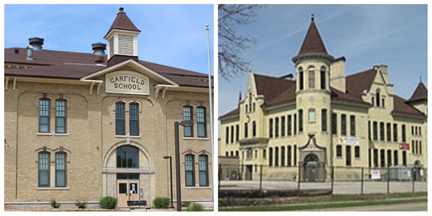 Julian Thomas Elementary School, left, and Janes Elementary School in Racine. Both schools were built in the 1850s. The Racine Unified School District plans to close Janes and construct a new school. (Photos via RUSD)