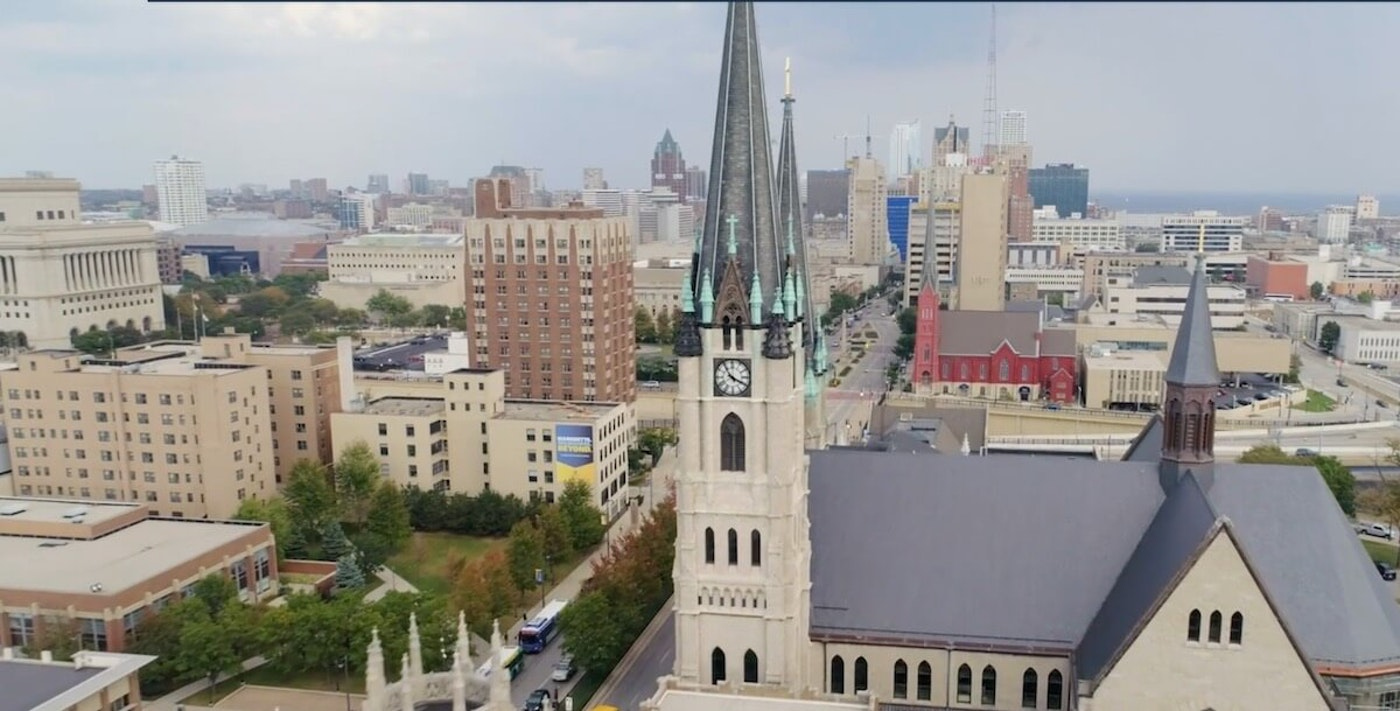 Aerial view of the Marquette University campus from the school's website.