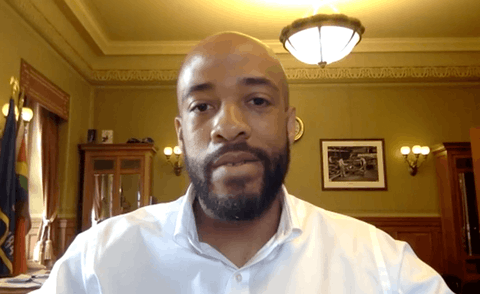 Wisconsin Lt. Governor Mandela Barnes during an online interview from his Capitol office.
