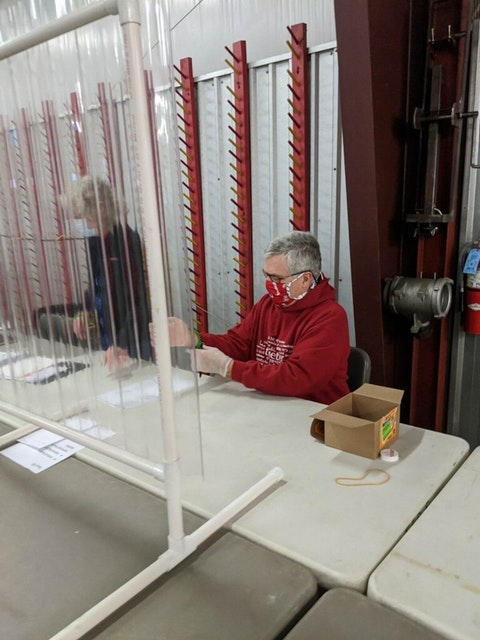 Sen. Jeff Smith, D-Eau Claire, works at the Brunswick Town Hall during the April election. In preparation for upcoming elections, the Wisconsin Elections Commission Thursday awarded  $3.3 million in grants to 52 counties to go toward election security improvements. (Photo provided)