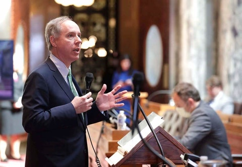 Assembly Speaker Robin Vos speaks during a legislative session April 14, the last time the Assembly met. Members were able to decide whether or not they wore face masks. (RICK WOOD/MILWAUKEE JOURNAL SENTINEL)