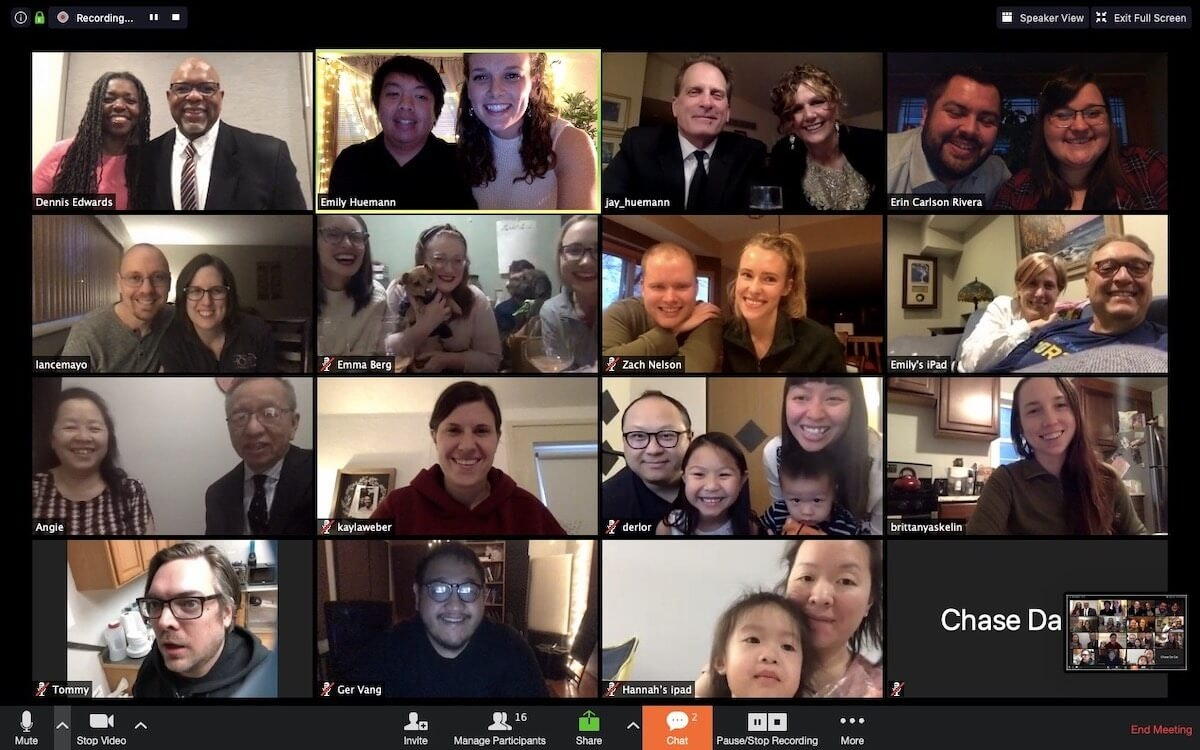 Emily Huemann Xiong and Arthur Xiong, top row, second from left, were married on March 17 using Zoom video software to gather friends and family members for the ceremony. The couple are among those nationwide having to alter their wedding plans because of the coronavirus pandemic. (Contributed image)