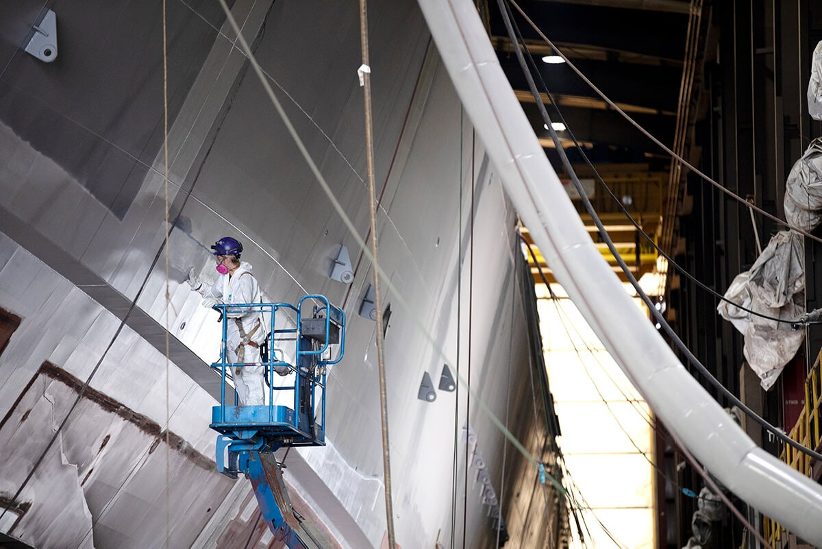 """Fincatieri Marine Group, a shipbuilder in Marinette, is reporting daily updates of confirmed coronavirus cases among its workforce. """"We feel we owe our community timely and factual information,"""" a company spokesman said. (Photo courtesy Fincatieri Marine Group)"""