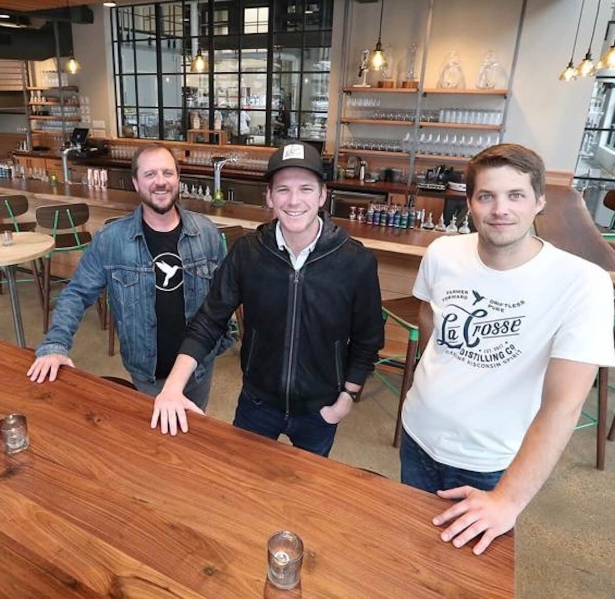 Chad Staehly, Nicholas Weber and Mitchell Parr co-founded La Crosse Distilling Co. in the fall of 2018. The company is now producing hand sanitizer to meet the demand due to the spread of COVID-19. (Photo provided by La Crosse Distilling Co.)