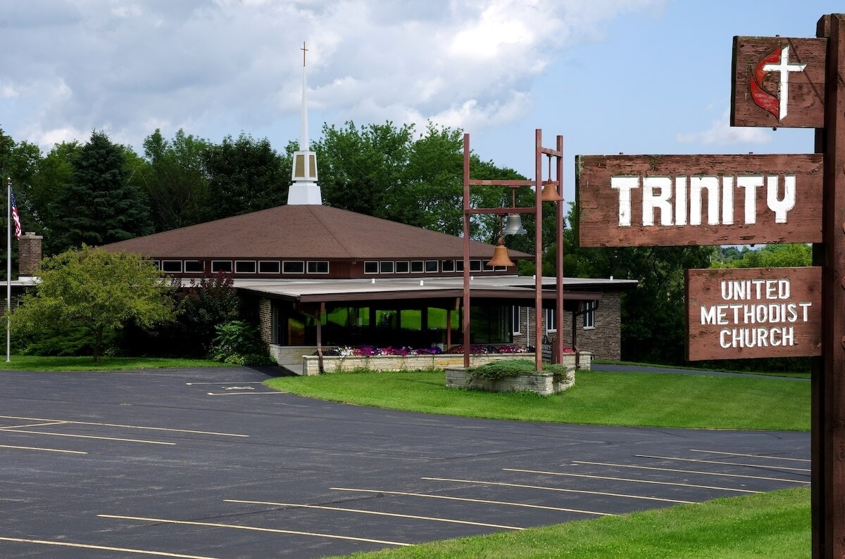 Trinity United Methodist Church, Waldo, where a drive-in church format will be held on Easter.