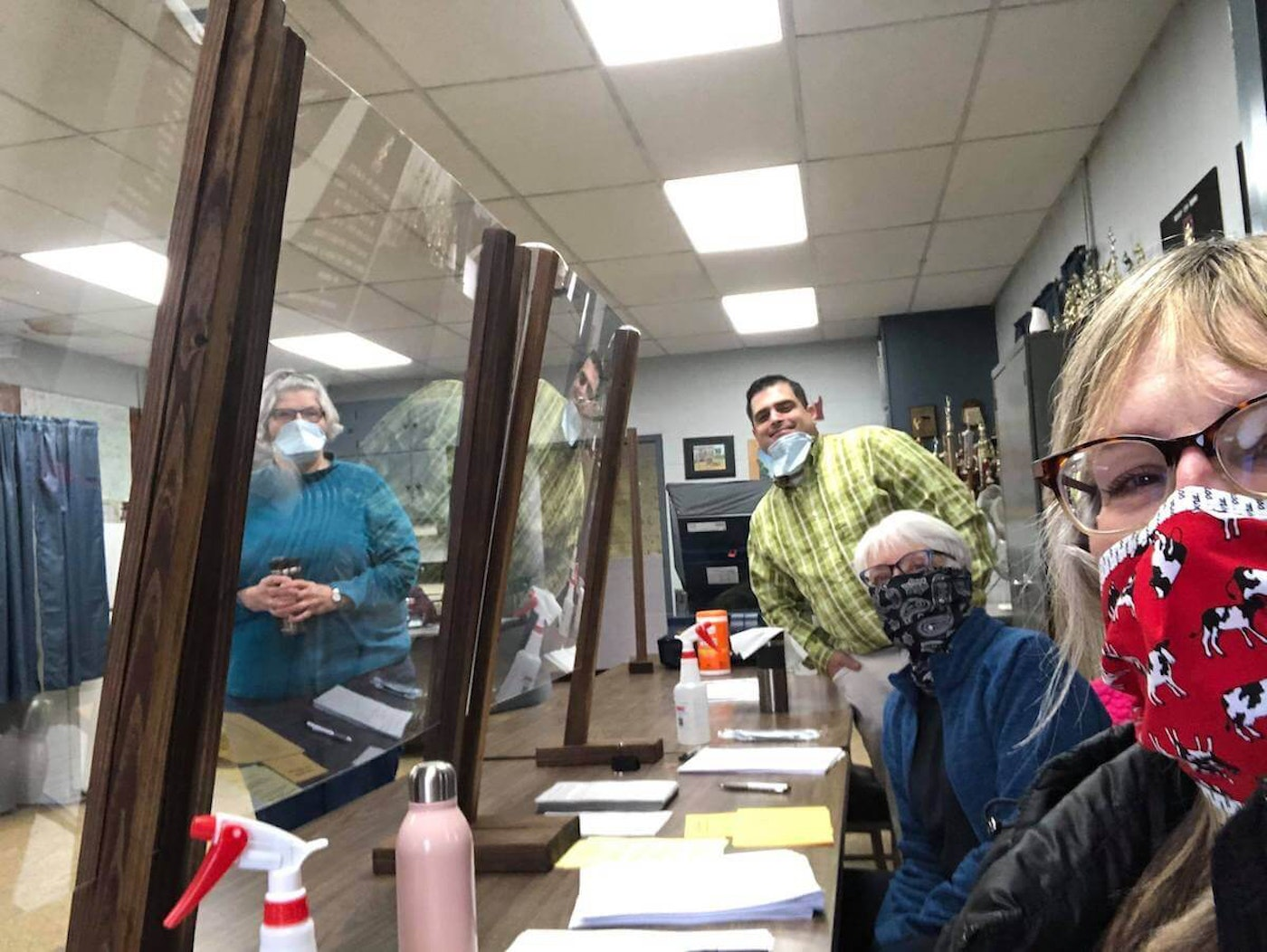 Kriss Marion of Blanchardville and fellow poll workers in Wiota, Wisconsin.