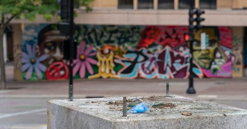 The empty pedestal after protesters took down the Forward statue on the grounds for the state Capitol June 24 in Madison. (Photo © Andy Manis)