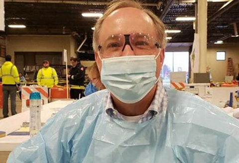 Assembly Speaker Robin Vos (R-Rochester) in full-body personal protective equipment during the April 7 election. Vos' chief of staff is among half a dozen Capitol staffers to test positive for COVID-19. (Photo via Robin Vos' Office)