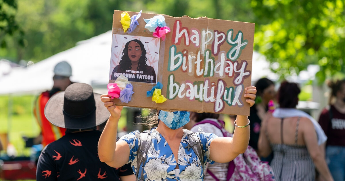 A gathering at James Madison Park for a birthday celebration for what would have been Breonna Taylor's 27th birthday Friday. (Photo © Andy Manis)