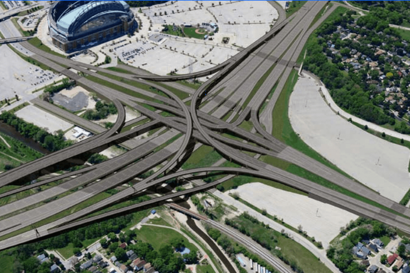 A Wisconsin Dept. of Transportation 2016 rendering of a how part of the I-94 East-West corridor would look as it passed through the Stadium Interchange next to Miller Park.