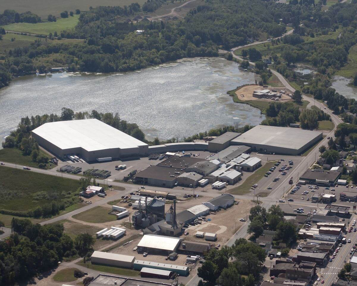 The Seneca Foods vegetable processing plant in Cumberland as seen in a 2014 aerial photo on the plant's Facebook page where work shifts are posted daily in English and Spanish.