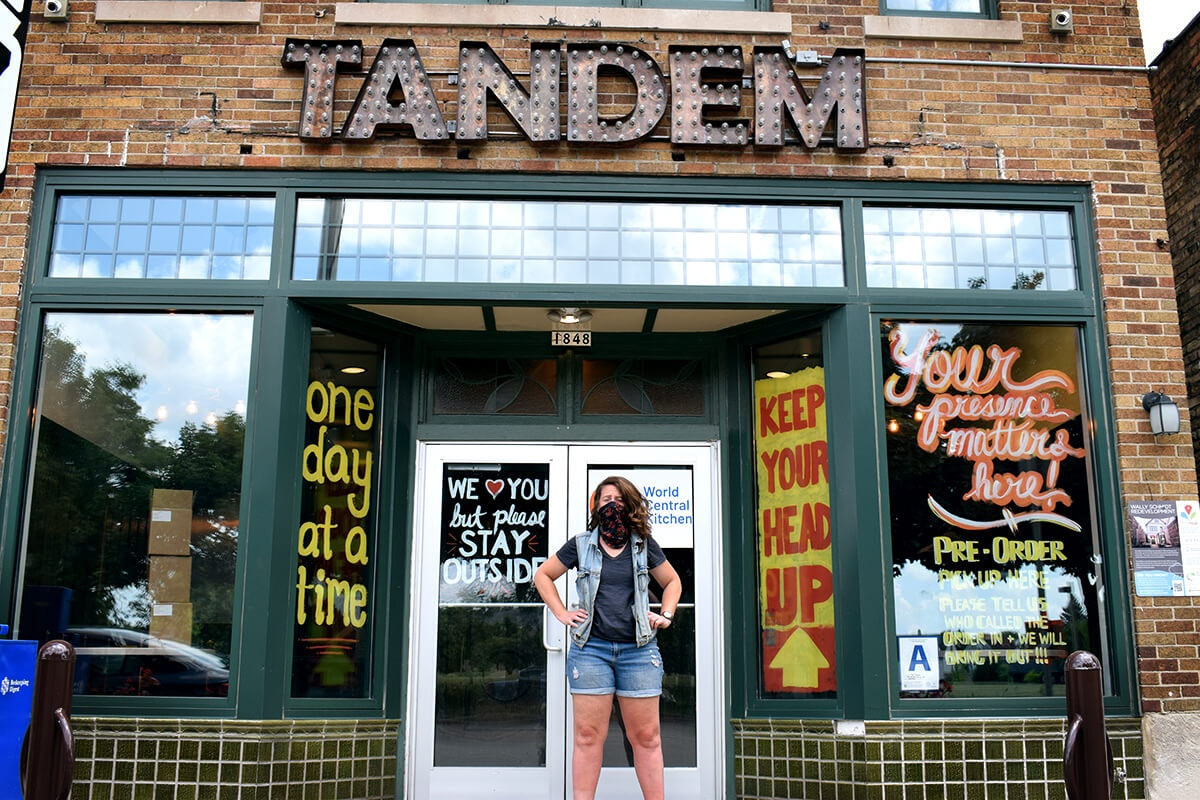 """Caitlin Cullen, chef and owner of The Tandem in Milwaukee, just wrapped up about three months of being a """"bank"""" for other local restaurants struggling during the pandemic. The Tandem partnered with nonprofit World Central Kitchen to cut checks to local restaurants for providing meals to give out to those struggling in the community."""