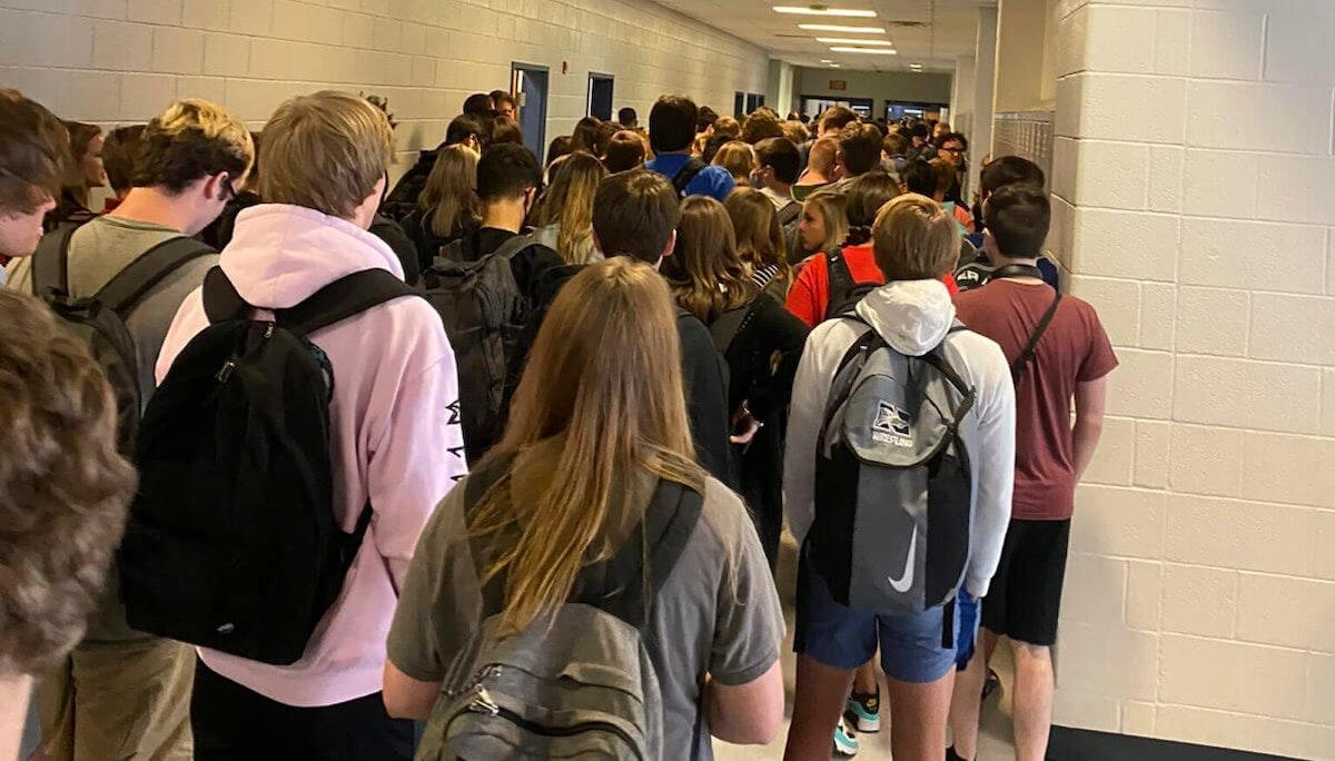 Crowded school hallway.