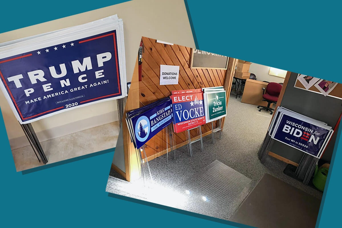 Campaign lawn signs for President Trump (left) and Joe Biden and other candidates (right, from the Oneida County Democratic Party).