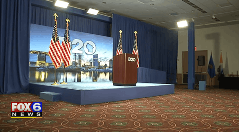 The 2020 Democratic National Convention in Milwaukee features a single small stage inside the Wisconsin Center.