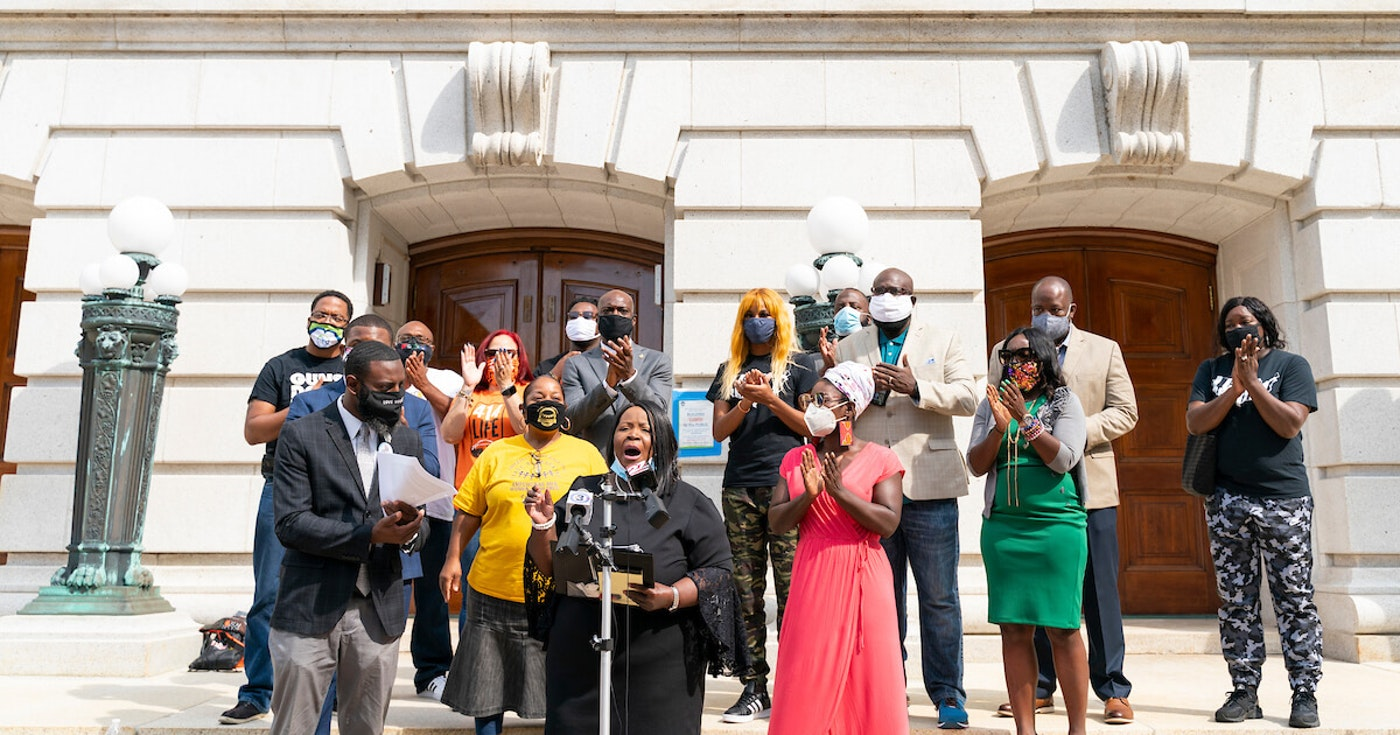 Rep. Shelia Stubbs (D-Madison) addresses the media at the Capitol Aug. 31, 2020, with other lawmakers, activists, and community organizers. The group was gathered to call out Republicans to act on the governor's package of police reform bills. That did not happen. (Photo © Andy Manis)