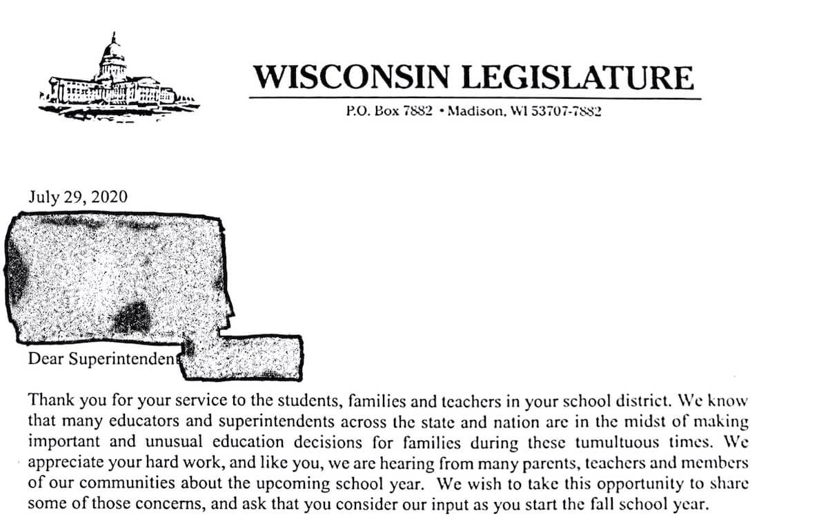 Image of a letter from dozens of Republican state legislators asking an unknown number of school superintendents to resume in-person instruction despite concerns about the coronavirus outbreak that has killed nearly 1,000 people in Wisconsin.