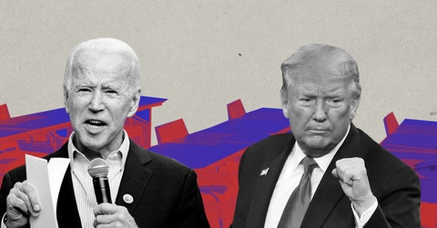 Former Vice President Joe Biden and President Donald Trump. (Graphic via Tania Lili for COURIER)