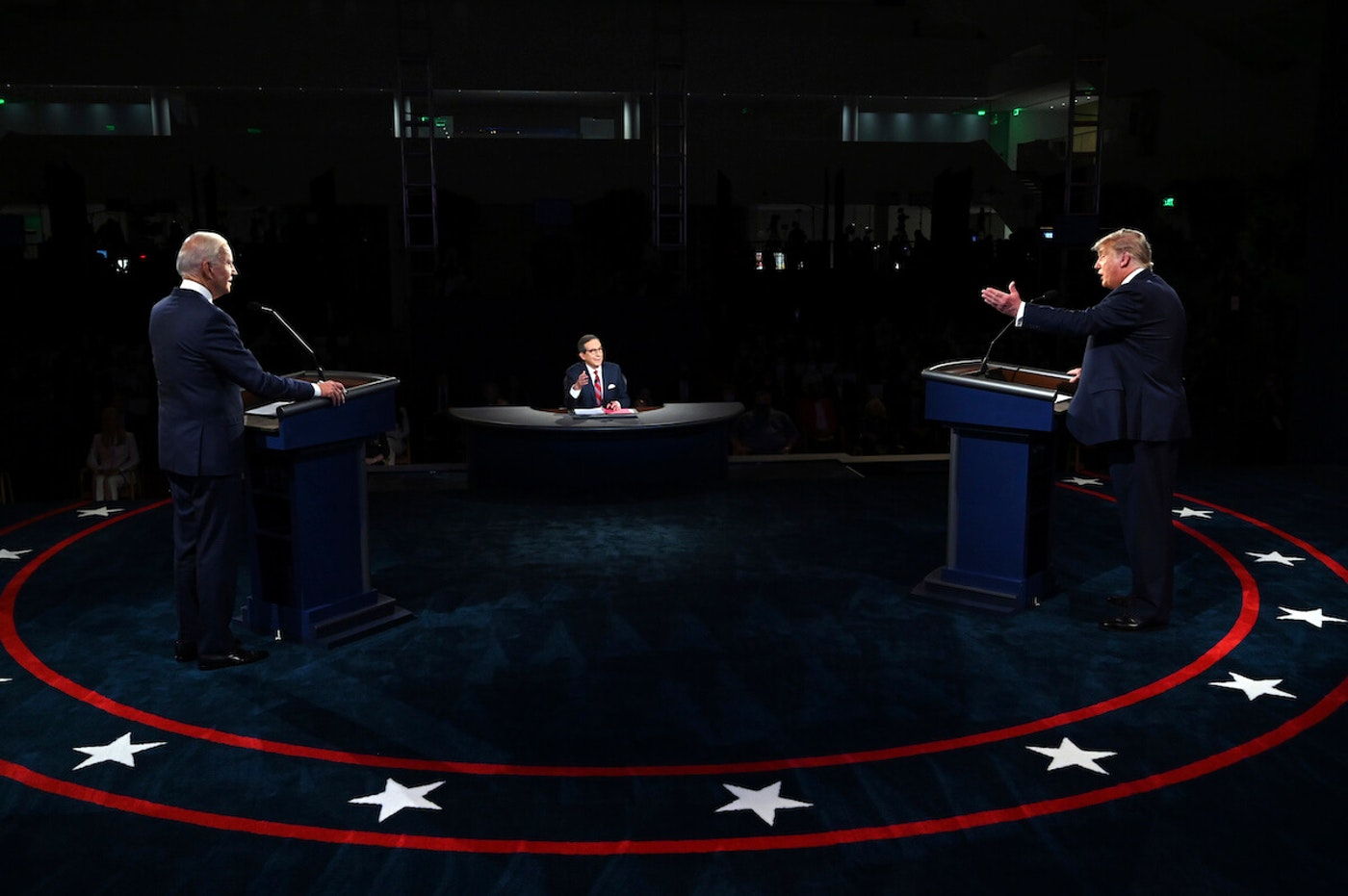 President Donald Trump used time during the first presidential debate with Democratic presidential candidate and former Vice President Joe Biden to tell his supporters to go watch what is happening at polling sites Election Day. (Olivier Douliery/Pool vi AP)