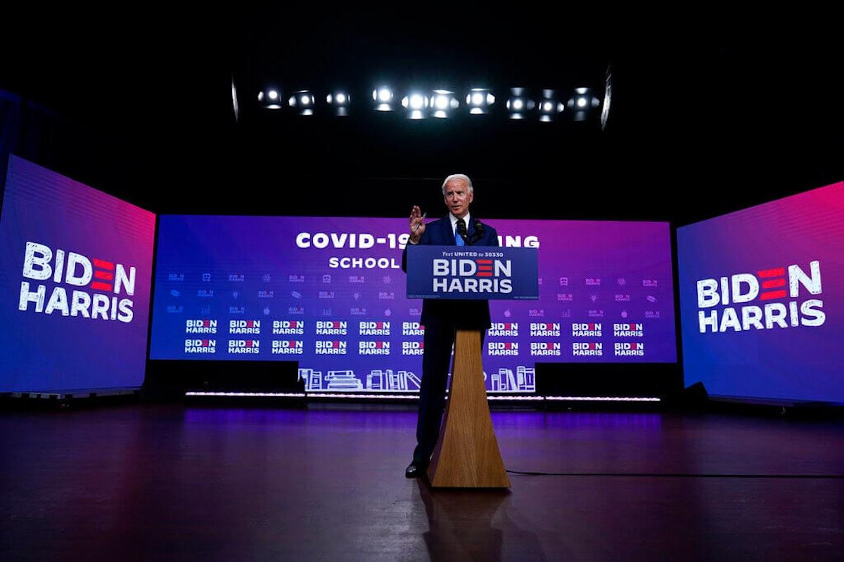 Democratic presidential candidate former Vice President Joe Biden speaks in Wilmington, Del., Wednesday, Sept. 2, 2020, about school reopenings. (AP Photo/Carolyn Kaster)