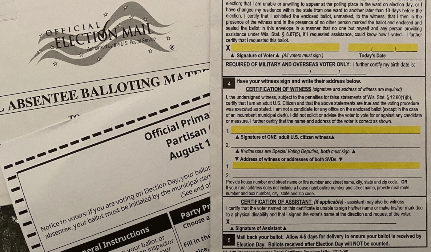 An absentee ballot for the upcoming presidential election. (Photo by Pat Kreitlow)