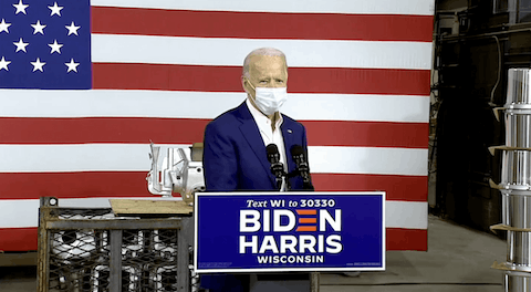 Joe Biden speaking at a factory in Manitowoc, Wis.