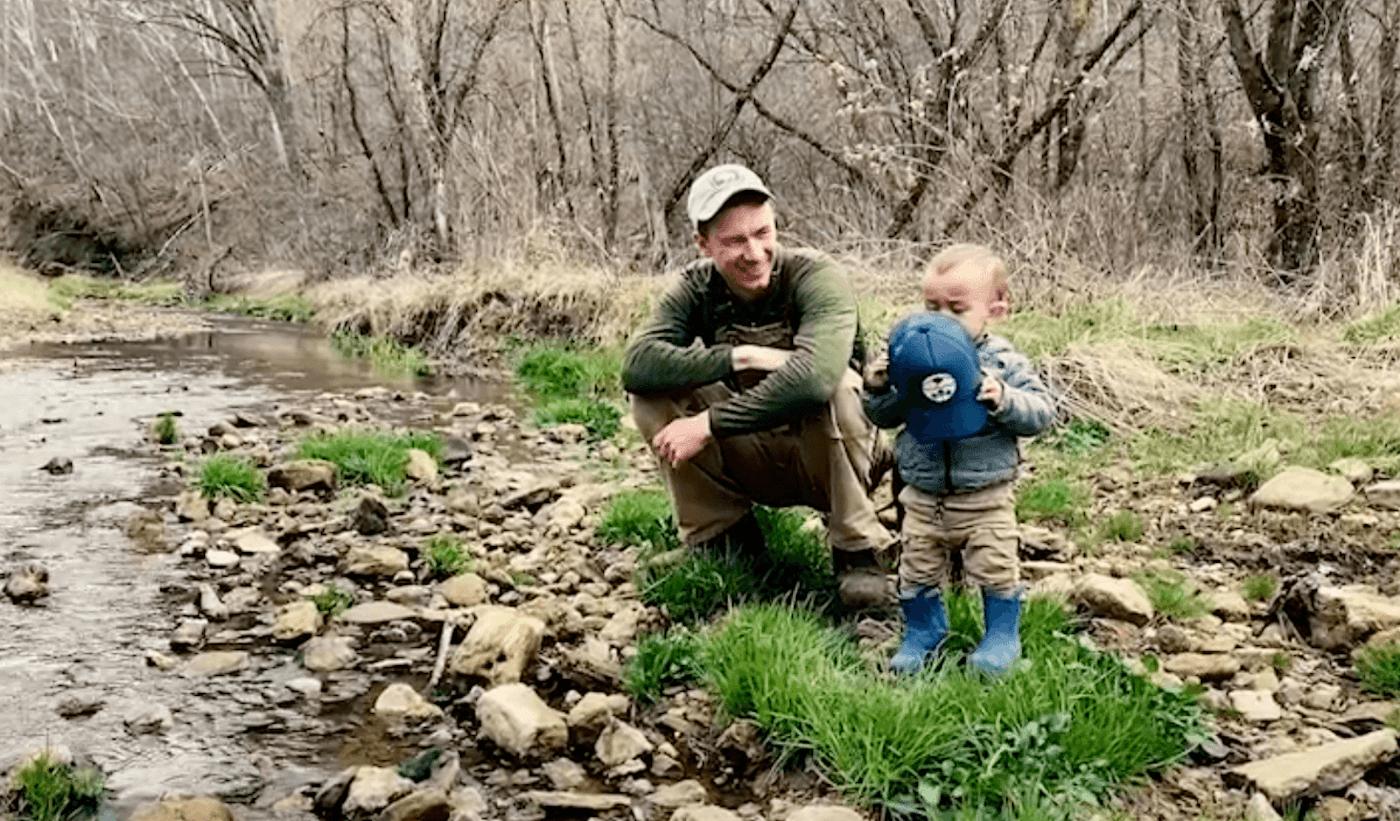 Joel Charles and his son