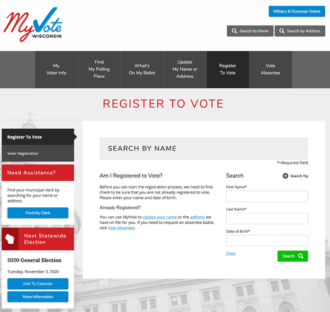 The My Vote Wisconsin website is a go-to resource to find out how to register to vote.