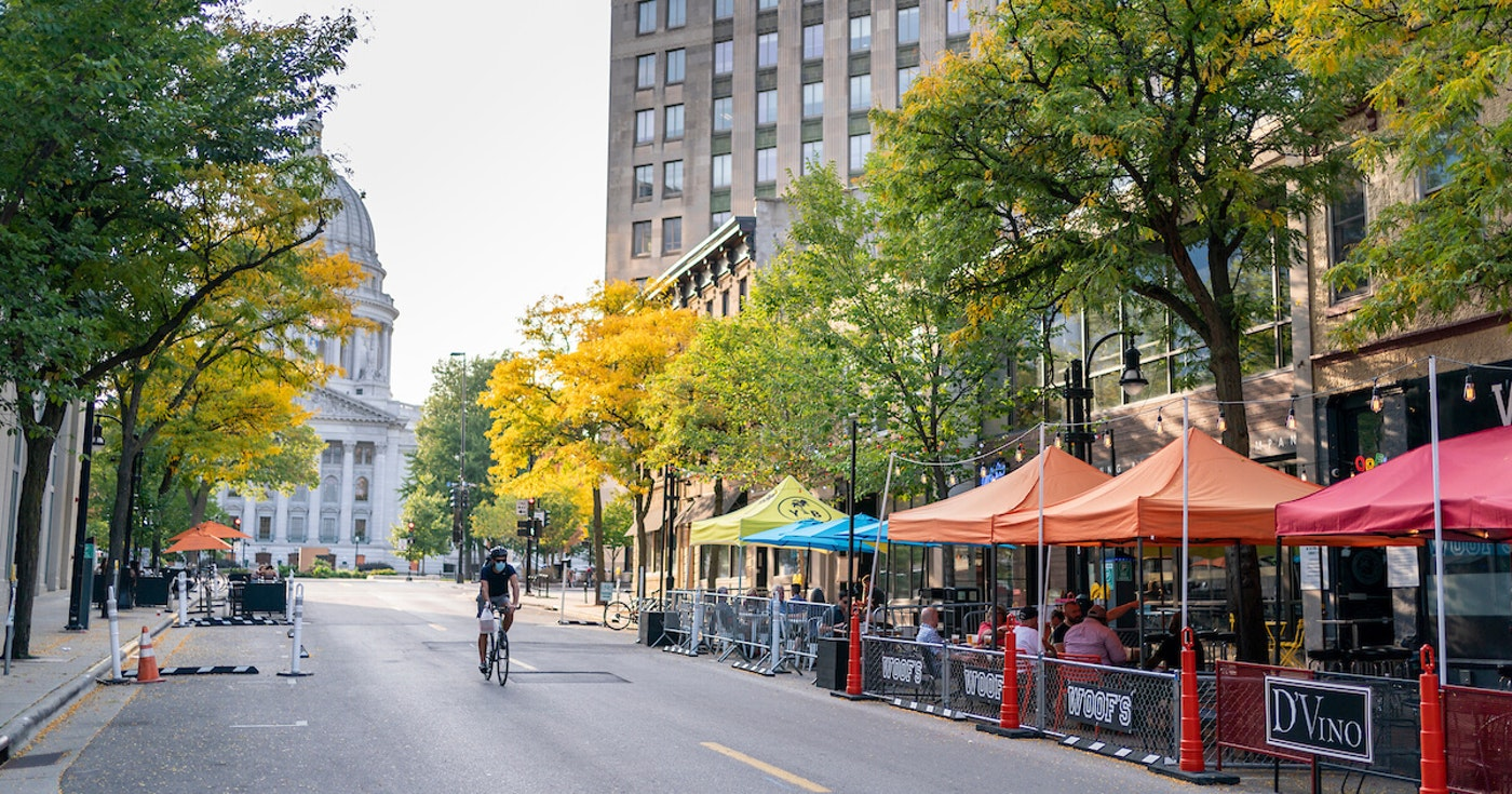 Restaurants along King Street in downtown Madison have the benefit of a Capitol view to attract customers with outdoor seating. With winter approaching, the lack of outdoor seating will be another hit to restaurants trying to survive the pandemic. (Photo © Andy Manis)