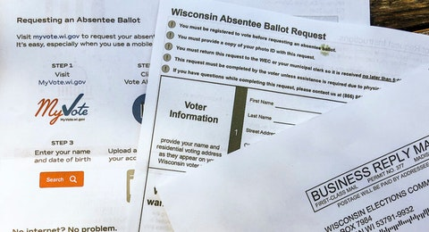 Roughly 2.6 million registered voters in Wisconsin began receiving absentee ballot request forms in the mail this week. The request form must be completed and returned before the actual absentee ballot is sent to the voter. (Photo by Jessica VanEgeren)
