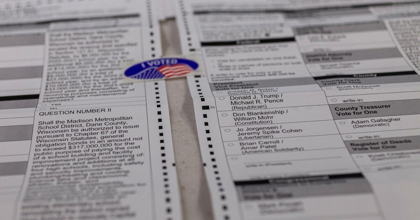 Samples ballot in Wisconsin. (Photo © Lola Abu-Shawareb)