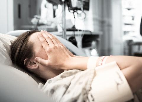 Sad hospital patient