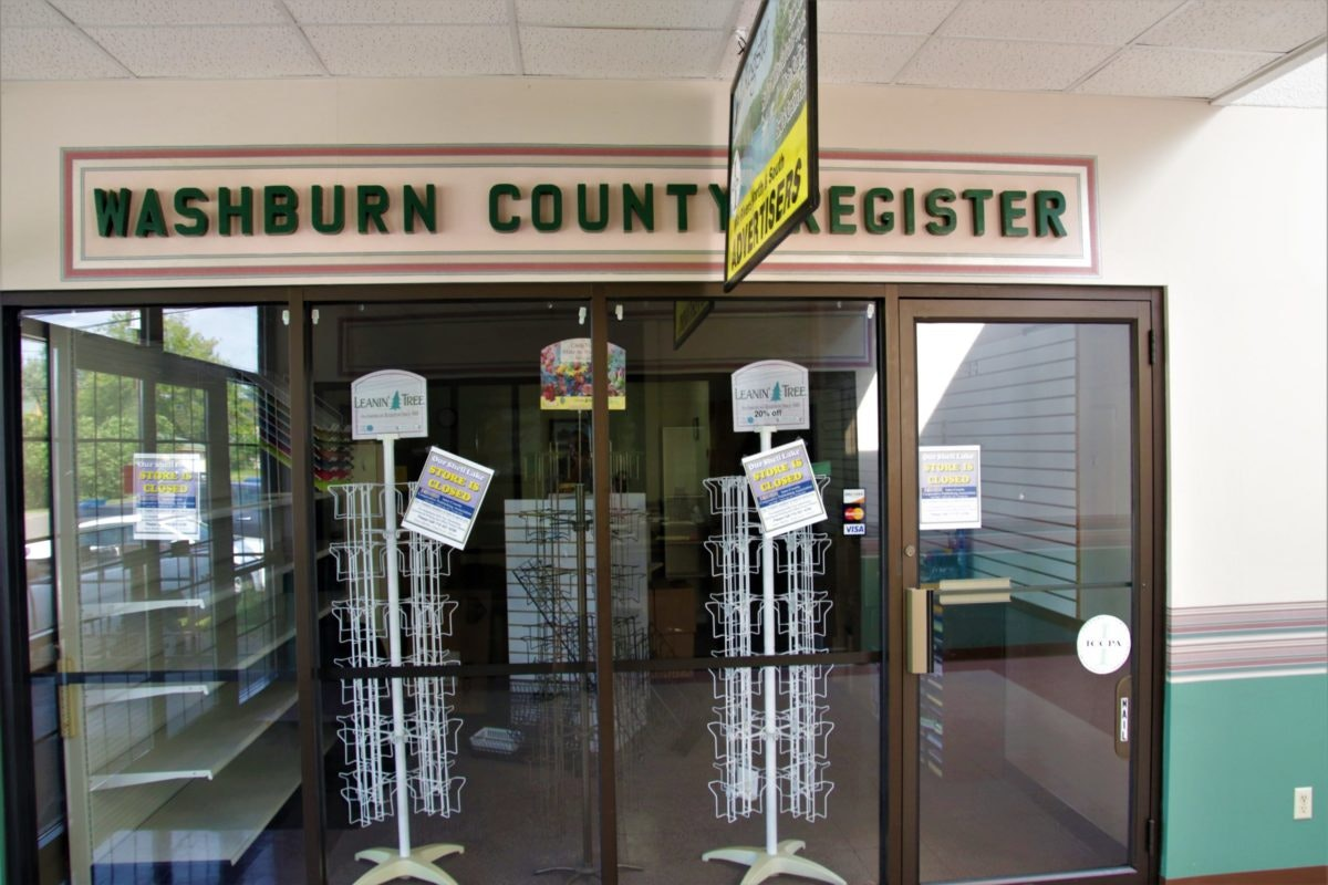 The now-closed offices of the Washburn County Register which is ending publication after 131 years of serving Shell Lake, Wis.