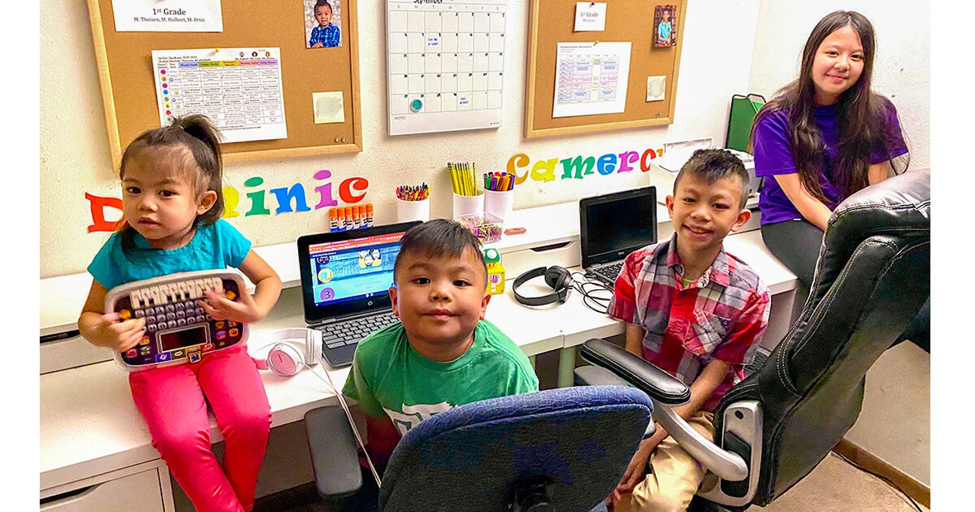 Cee and Peov Khuy of Madison are the parents of four children (left to right): Ellie, 4; Dominic, 6; Cameron, 11; and Mikayla, 13. The parents now juggle their full-time jobs and virtual learning for three of their children. Virtual learning can be challenging for parents and is one of the additional pandemic costs impacting public school districts. (Photo provided by Cee Khuy)