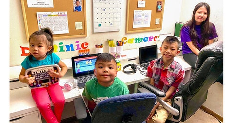 Cee and Peov Khuy of Madison are the parents of four children (left to right): Ellie, 4; Dominic, 6; Cameron, 11; and Mikayla, 13. The parents now juggle their full-time jobs and virtual learning for three of their children. (Photo provided by Cee Khuy)