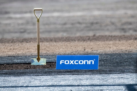 A shovel is set in place before the June 28, 2018 groundbreaking ceremony of what was originally planned as a Foxconn large flat-screen manufacturing facility. (Photo by Yichuan Cao/NurPhoto)