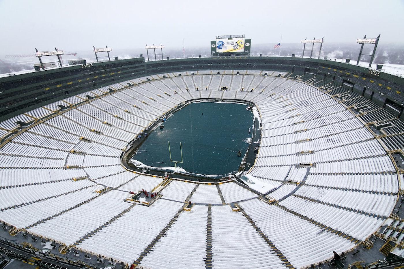 Empty, snowy Lambeau Field (2016 file photo)