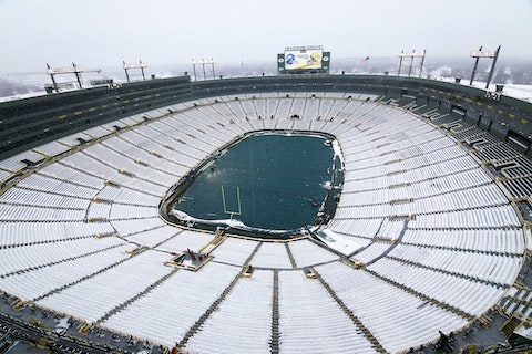Empty, snowy Lambeau Field (2016 file photo)