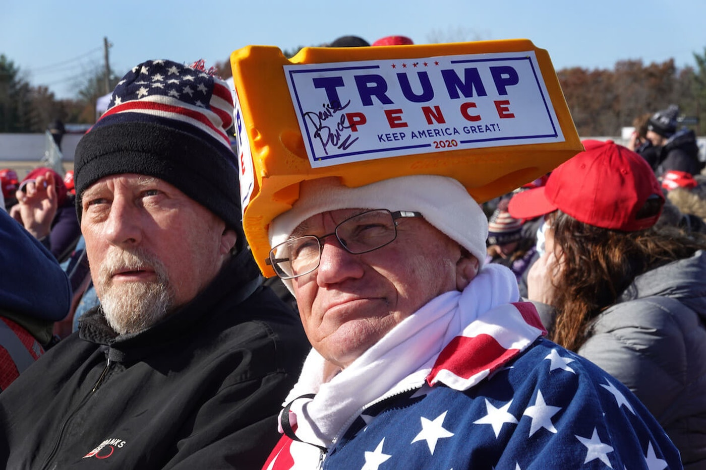 Supporters of President Donald Trump attend a campaign rally at the LaCrosse Fairgrounds Speedway on October 27, 2020 in West Salem, Wisconsin. A recent polling average has Trump trailing former vice president and Democratic presidential nominee Joe Biden by about 7 points in the state. (Photo by Scott Olson/Getty Images)