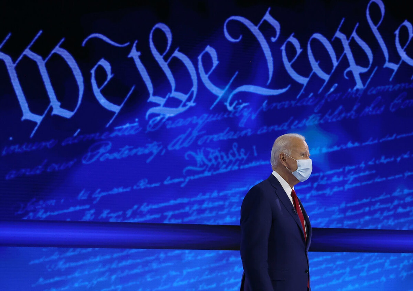 Democratic presidential nominee Joe Biden participates in a Town Hall format meeting with ABC News Chief Anchor George Stephanopoulos at the National Constitution Cent on Oct. 15 in Philadelphia, Pennsylvania. The second presidential debate was originally scheduled for that night but was cancelled after President Donald Trump refused to participate in a 'virtual' debate after he tested positive for the coronavirus and was hospitalized for three days. (Photo by Chip Somodevilla/Getty Images)