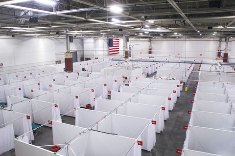 The field hospital in West Allis. It has the capacity to treat 530 patients. (Photo provided by state Department of Administration)
