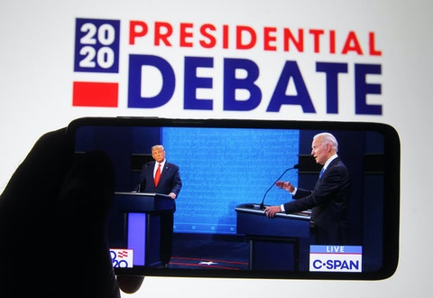 The final presidential debate between President Donald Trump and former Vice President Joe Biden took place at Belmont University in Nashville on Thursday. (Photo Illustration by Pavlo Conchar/SOPA Images/LightRocket via Getty Images)