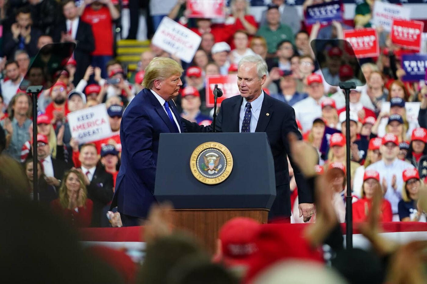 President Donald Trump and Sen. Ron Johnson at UW-Milwaukee Panther Arena, January 14, 2020.